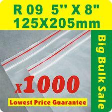 "1000 x R09 125X205mm(5""X8"") Resealable/ Zip Lock ZipLock Plastic Seal Bags"