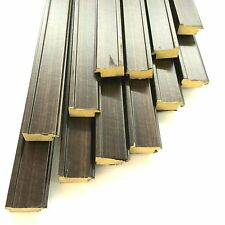 Lot (12) 9ft X 1-1/8 in X 5/8 in Chocolate Brown picture frame molding with Lip
