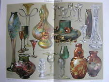 Antique print Studio glass Glaskunst glas art 1903