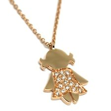 Necklace with Pendant Child, Rose Gold 750 18K, Diamonds, Chain Rolo '