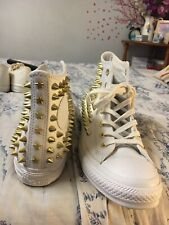 Hightop Gold Studded Converse Womn 7.5, White Leather