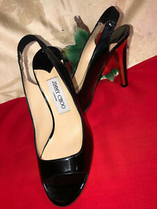 Jimmy Choo London Made in Italy Women Black Patent leather heel shoes. US SZ-7M.