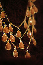 Gold Chain Multi Layer Teardrop Pear Tear Drop Coin Beige Necklace Earrings Set