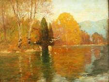 19th CENTURY IMPRESSIONIST View Italian Lakes Antique Oil Painting