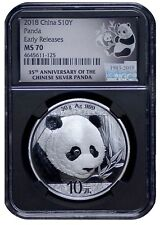 2018 China 10 Yuan Silver Panda NGC MS70 - Early Releases - 35th Anniv BLACK