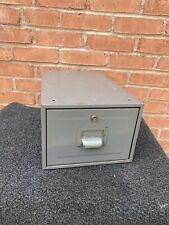 Vintage grey metal index filing drawer cabinet