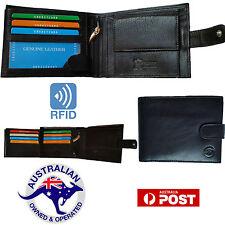 Genuine Cowhide Leather Wallet Mens RFID Blocking Bifold Anti Theft Security