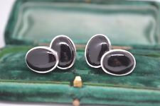 Sterling Silver chain cufflinks with a Black Onyx cabochon insert