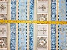 Heavenly 24569-B By QT Religious Stripe Cross Harp Dan Morris Cotton fabric