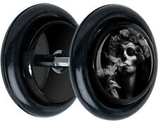 Pair Smoking Day of Dead Fake FAKE GAUGES EARRINGS body jewelry 5158