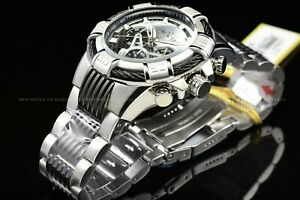Invicta Men Bolt 52mm Tachymeter High Polish Steel & Black Chrono Two Tone Watch