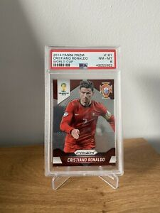 2014 Panini Prizm World Cup Football Card #8 Cristiano Ronaldo PSA 8 Man United