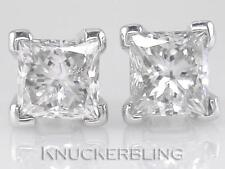 Diamond Solitaire Studs: 1.00ct Certified D IF VG Princess Cut in Solid Platinum