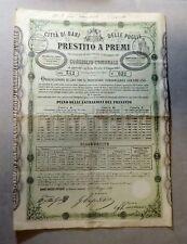 [NC] Città di BARI - PRESTITO A PREMI - OBBLIGAZIONE di 100 lire (1868)