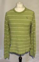 Abercrombie & Fitch Men's Jumper Green Striped L/S Large 100% Cotton Frayed