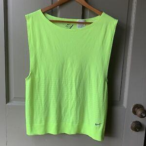 Women's Nike Dri Fit Racer Neon Yellow Large Loose Running Tank Top EUC