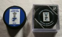 2 St. Louis Blues Stanley Cup Champion Banner Raising Ceremony Game Puck Hockey