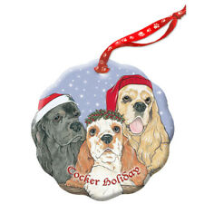 Cocker Spaniel American Holiday Porcelain Christmas Tree Ornament
