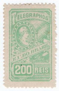 (I.B) Brazil Telegraphs : 200r Blue-Green