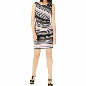 CONNECTED APPAREL NEW Women's Petite Ruched-side Striped Sheath Dress TEDO