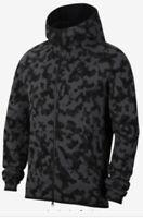Men's Nike Tech Fleece Full Zip Hooded Jacket Black/Gray Camo CJ5975-010 Size L