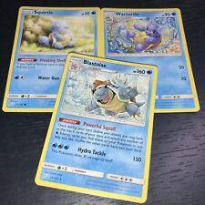 Pokemon: Blastoise Wartortle Squirtle - 3 Card Evolution Set Sm Team Up Nm
