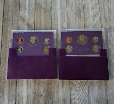1986 United States Proof Complete 5 Coin US Mint Set Half Dollar Quarter Purple
