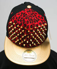 Bling stud snapback caps, red leopard velvet flat peak hats premium gold hiphop