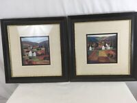 Irina Koulikova Genuine Wood Product Vtg USA Made Set of 2 Framed Artwork Prints