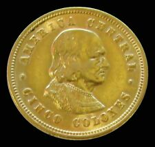 1899 GOLD COSTA RICA 5 COLONES COLOMBUS AU CONDITION