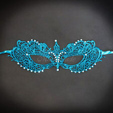 Lace Masquerade Mask, Dark Teal RHINESTONES LACE Mask for Women LM0601