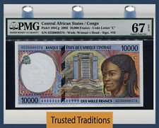 TT PK 105Cg 2002 CENTRAL AFRICAN STATES 10000 FRANCS PMG 67 EPQ SUPERB POP THREE