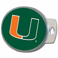 """Miami Hurricanes 1 1/4"""" - 2"""" Solid Metal Oval Hitch Plug Receiver Cover"""