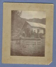 Vintage Photo Men in front of Barn House Chopping Wood California
