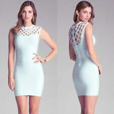 BEBE BLUE CAGE SHOULDER YOKE BANDAGE DRESS NWT NEW $139 LARGE L