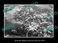 OLD 6 X 4 HISTORIC PHOTO MONTEVALLO ALABAMA AERIAL VIEW OF THE TOWN c1950