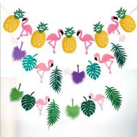 Hawaiian Tropical Flamingo Pineapple Summer Party Decor Banner Garland Bunting