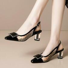 Womens New Patent Leather Polka Dot Mesh Slingback Block Heel Sandals Shoes MOON