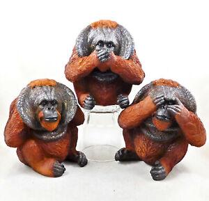 Three Wise Orangutans Figurine Ornament Statue Hear no See no Speak no Evil Apes