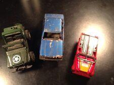 Vtg Lot of 3 Metal & Plastic US Army Jeep Car MC Tootsie Toy Reliant K Gobot NR