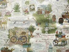 Antique Garden Scenic fabric fq 50 x 56 cm Makower MK1738 100% Cotton