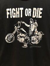 Walking Dead Fight or Die Daryls Triumph Chopper Motorcycle Screened T Shirt XL