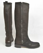 $1100+ Jimmy Choo Doreen zipper Biker Moto Tall Boot Waxed Suede Chocolate 40.5