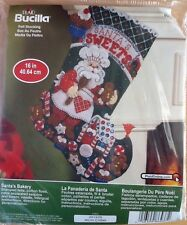 "Bucilla Christmas Felt Appliqué Stocking Santa's Bakery Kit 86437  16"" New"