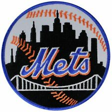 New York Mets Road Jersey Round Sleeve Patch Blue Border MLB Team Black Skyline