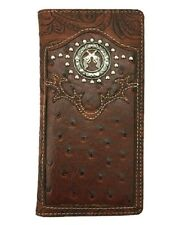 JRB BROWN LEATHER PISTOL GUN COWBOY CONCHO HORSE Mens Bifold Long Wallet Western