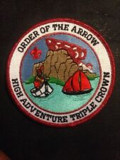 RARE Order Of The Arrow Triple Crown Red Mylar Patch