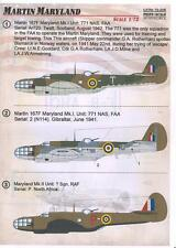 Print Scale Decals 1/72 MARTIN MARYLAND American WWII Bomber