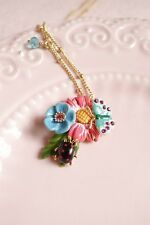 LES NEREIDES CHAMPETRE PINK/BLUE FLOWERS, LADYBUG AND BUTTERFLY NECKLACE