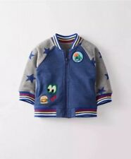 Hanna Andersson Bomber Varsity Jacket Boys 80 Blue Coat Dragon Patch Toddler